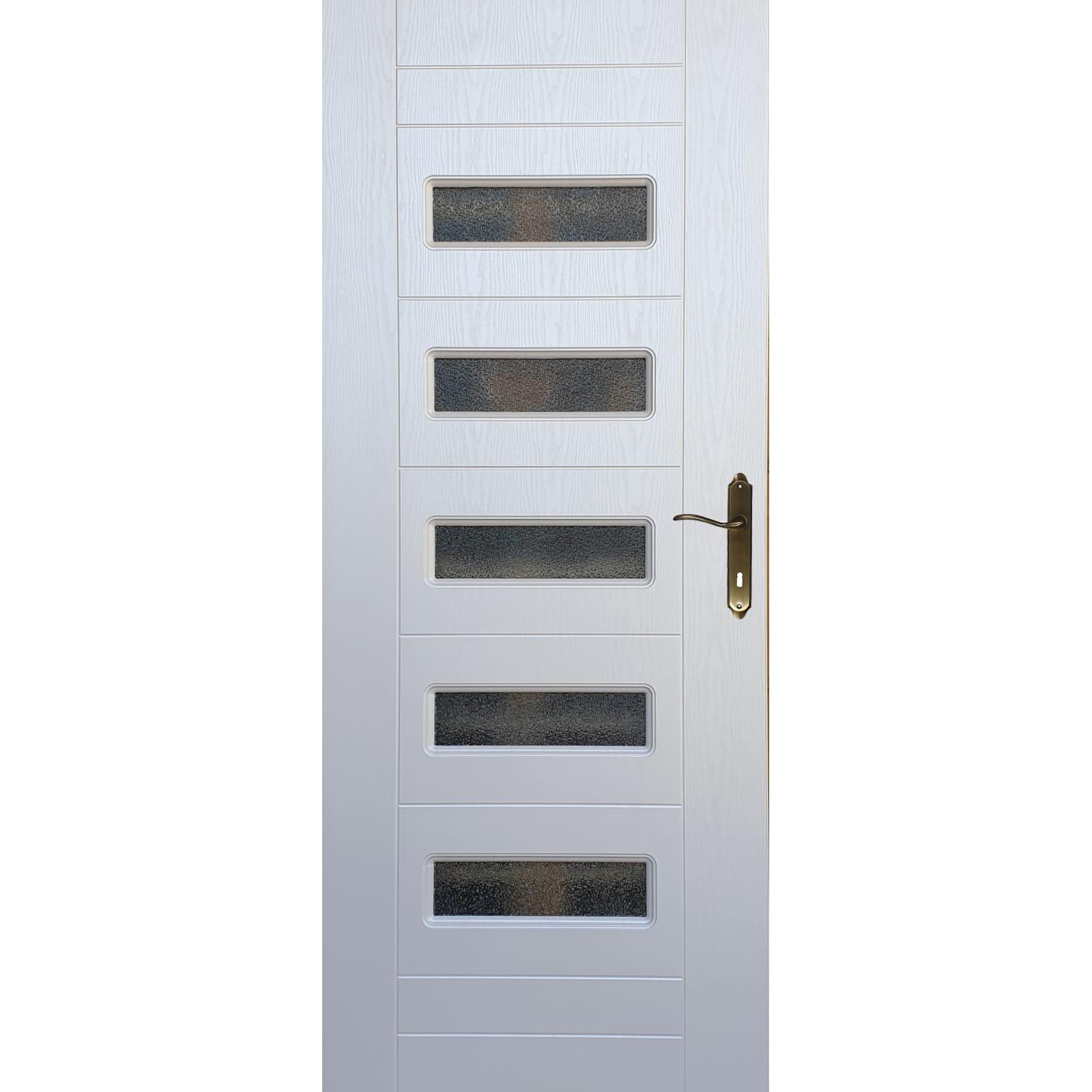 Usa interior cu geam Pamate M104, alb, 203 x 70 x 3,5 cm + toc 10 cm, reversibila imagine 2021 mathaus