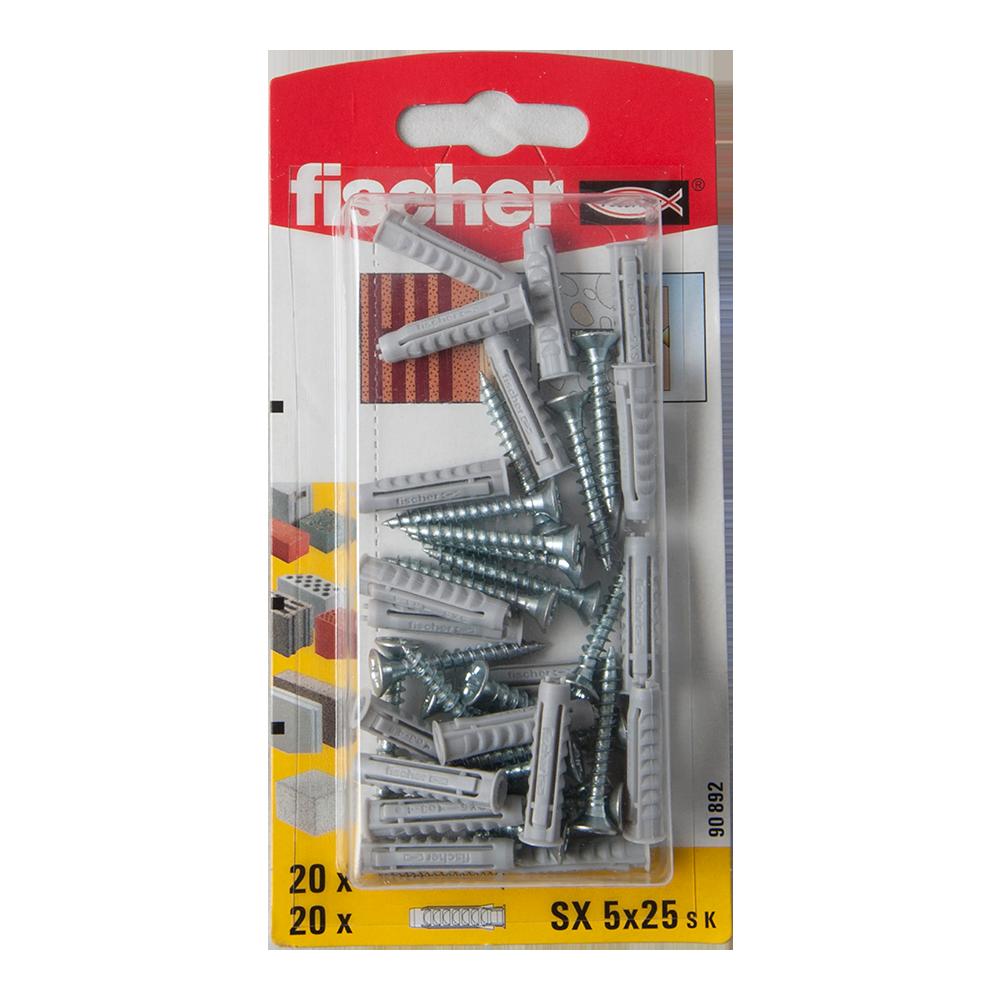 Diblu din nailon cu surub, Fischer SX, 5 x 25 mm, 3.5 x 35 mm, 20 buc imagine MatHaus