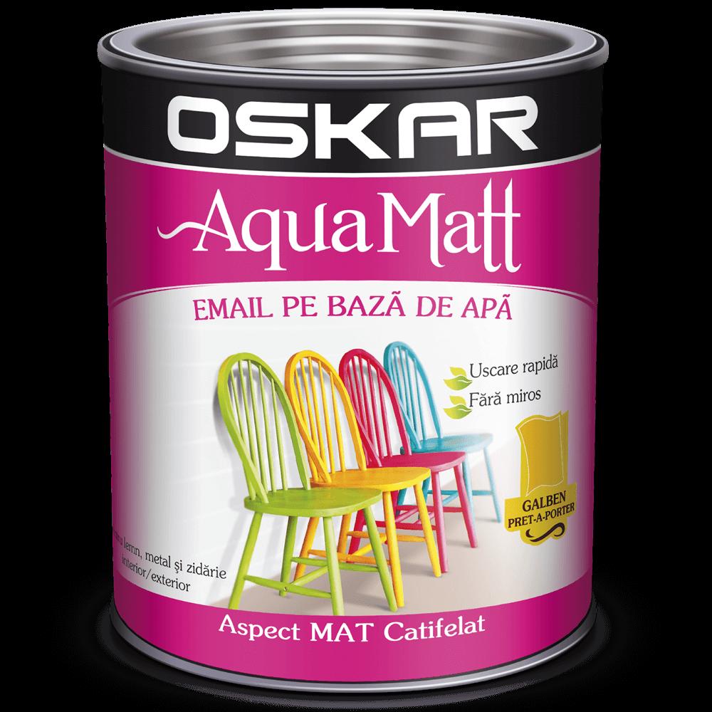Vopsea pentru lemn/metal, Oskar Aqua Matt, interior/exterior, pe baza de apa, galben prêt-a-porter, 2,5 L mathaus 2021