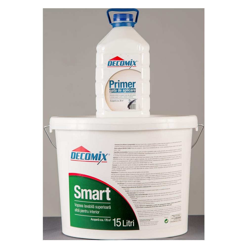 Vopsea lavabila Decomix Smart, pentru interior, 15L + 3L amorsa cadou imagine 2021 mathaus