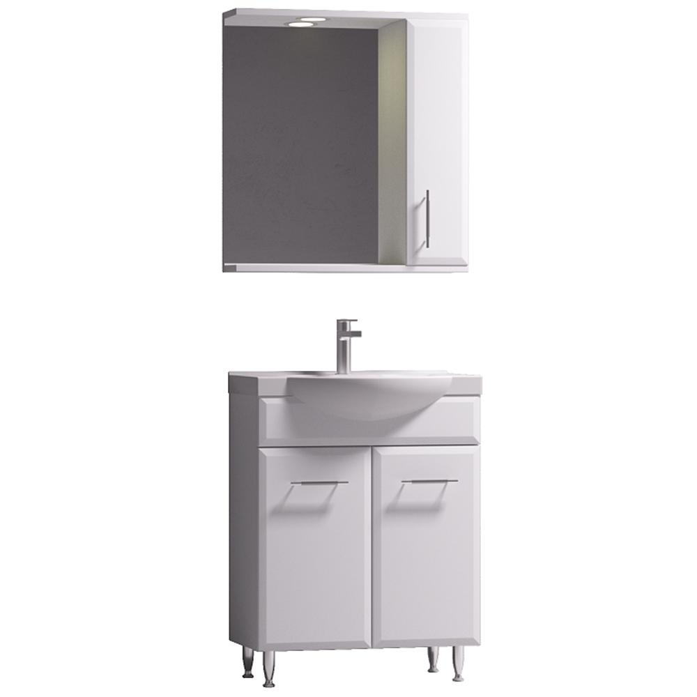 Set mobilier baie Badenmob Seria 152-65, masca + lavoar + oglinda, alb imagine 2021 mathaus