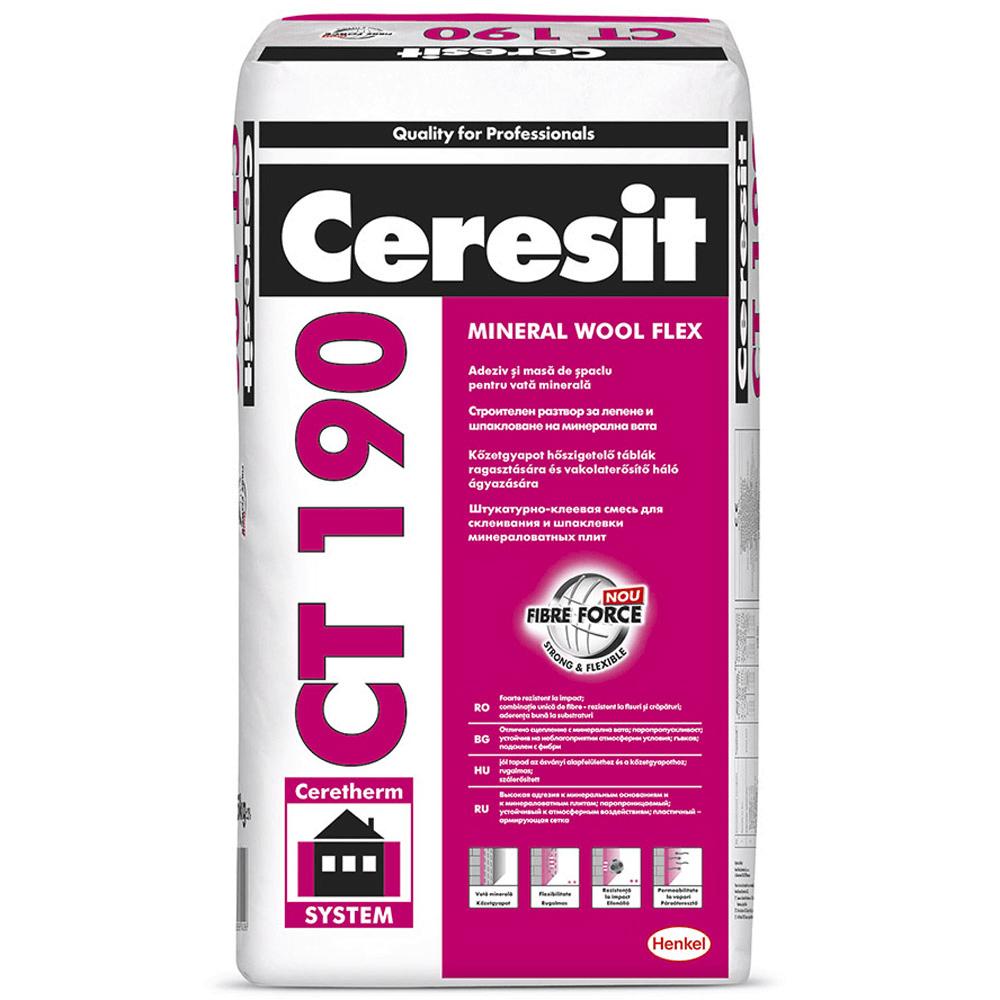 Mortar adeziv si masa de spaclu pentru vata minerala Ceresit CT 190, interior / exterior, 25 kg