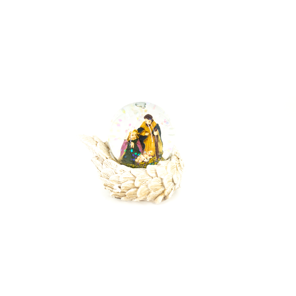 Decoratiune Craciun, aripi ceramice si glob scena nativity, polirasina si sticla, 4,5 cm