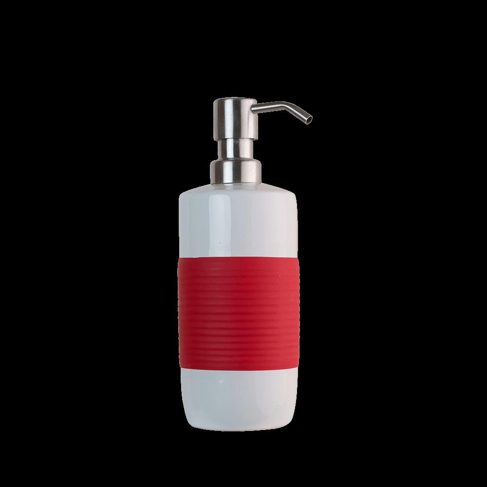 Dozator sapun lichid Romtatay Moorea, ceramica, alb-rosu, 20,5 x 7,5, cm mathaus 2021