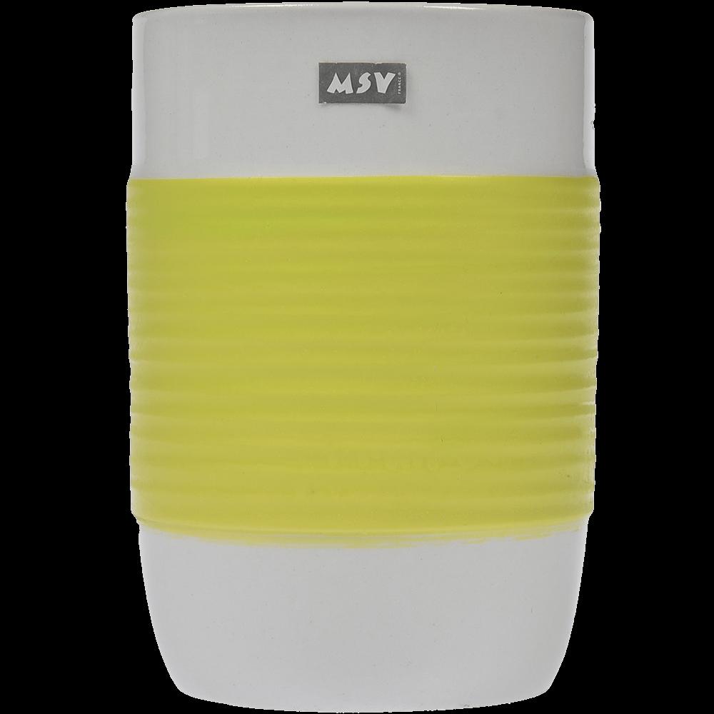 Pahar de baie Romtatay Moorea, ceramica, alb-verde, 7 x 10.5 cm imagine 2021 mathaus