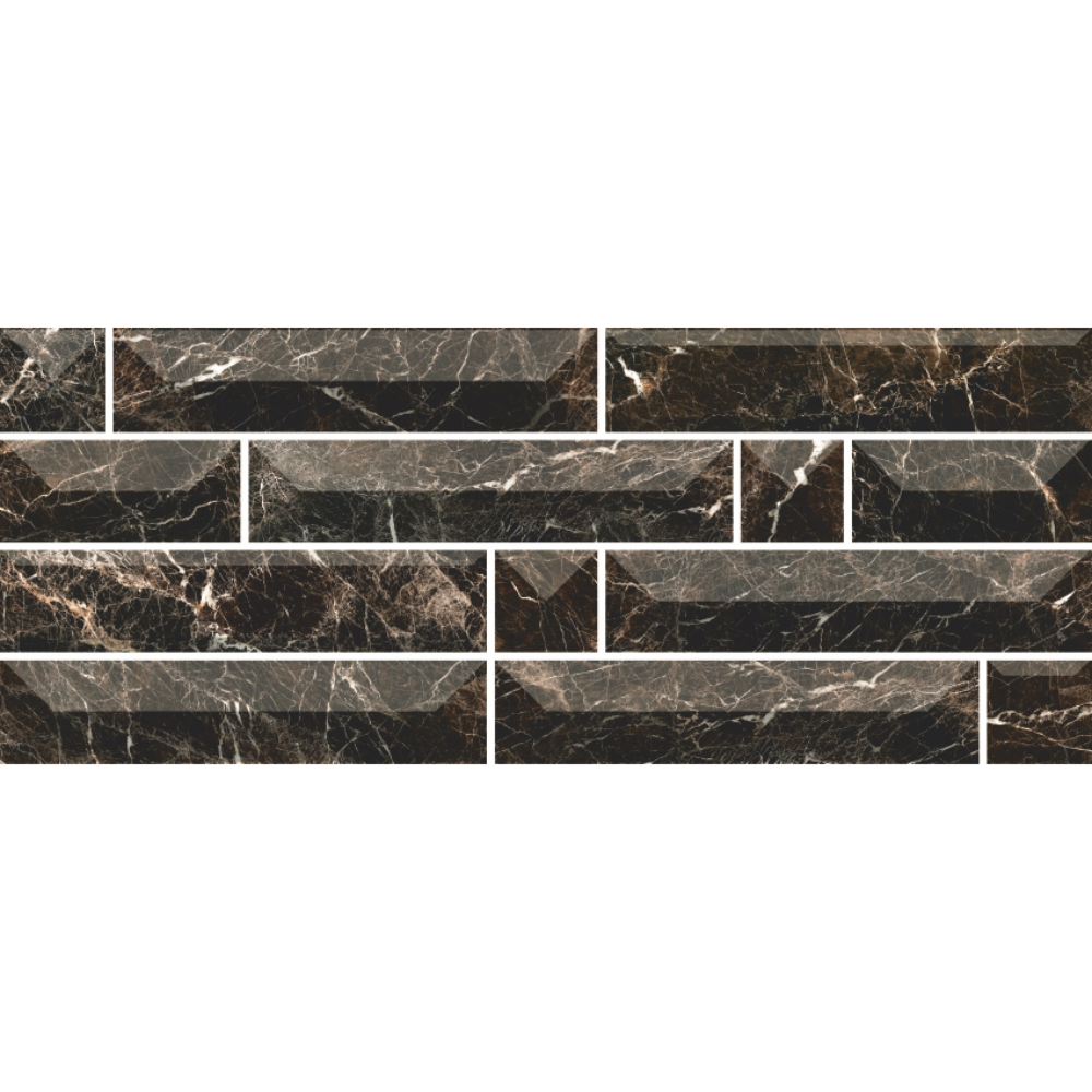 Faianta Atlantis 1T, negru, aspect de piatra, lucioasa, 50 x 20 cm imagine 2021 mathaus