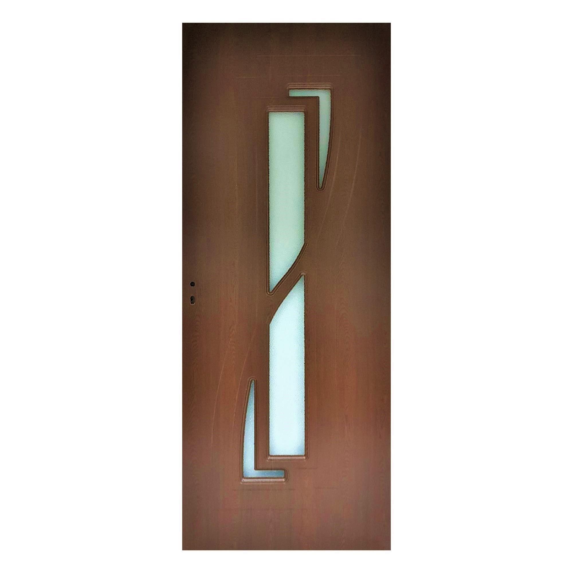 Usa interior cu geam Pamate M042, stejar auriu, 203 x 60 x 3,5 cm + toc reglabil, reversibila