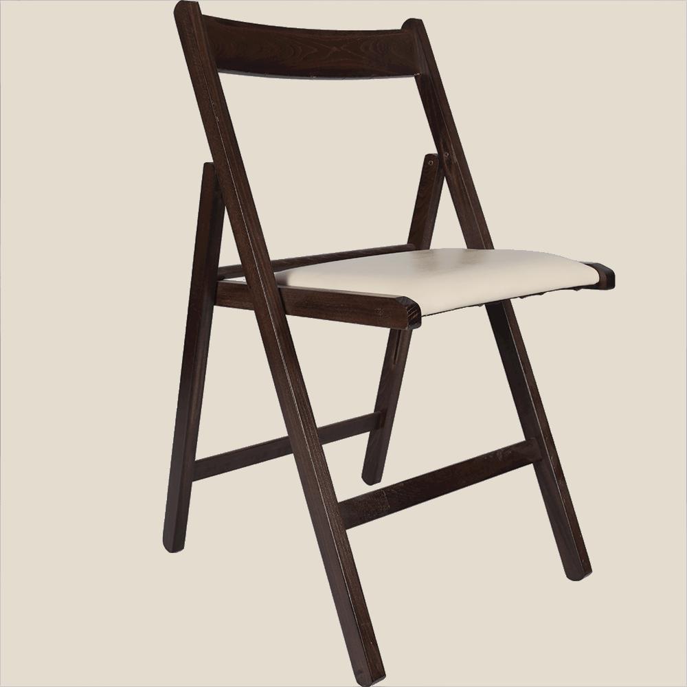 Scaun bucatarie / living pliant, tapitat, lemn wenge + piele ecologica crem imagine 2021 mathaus