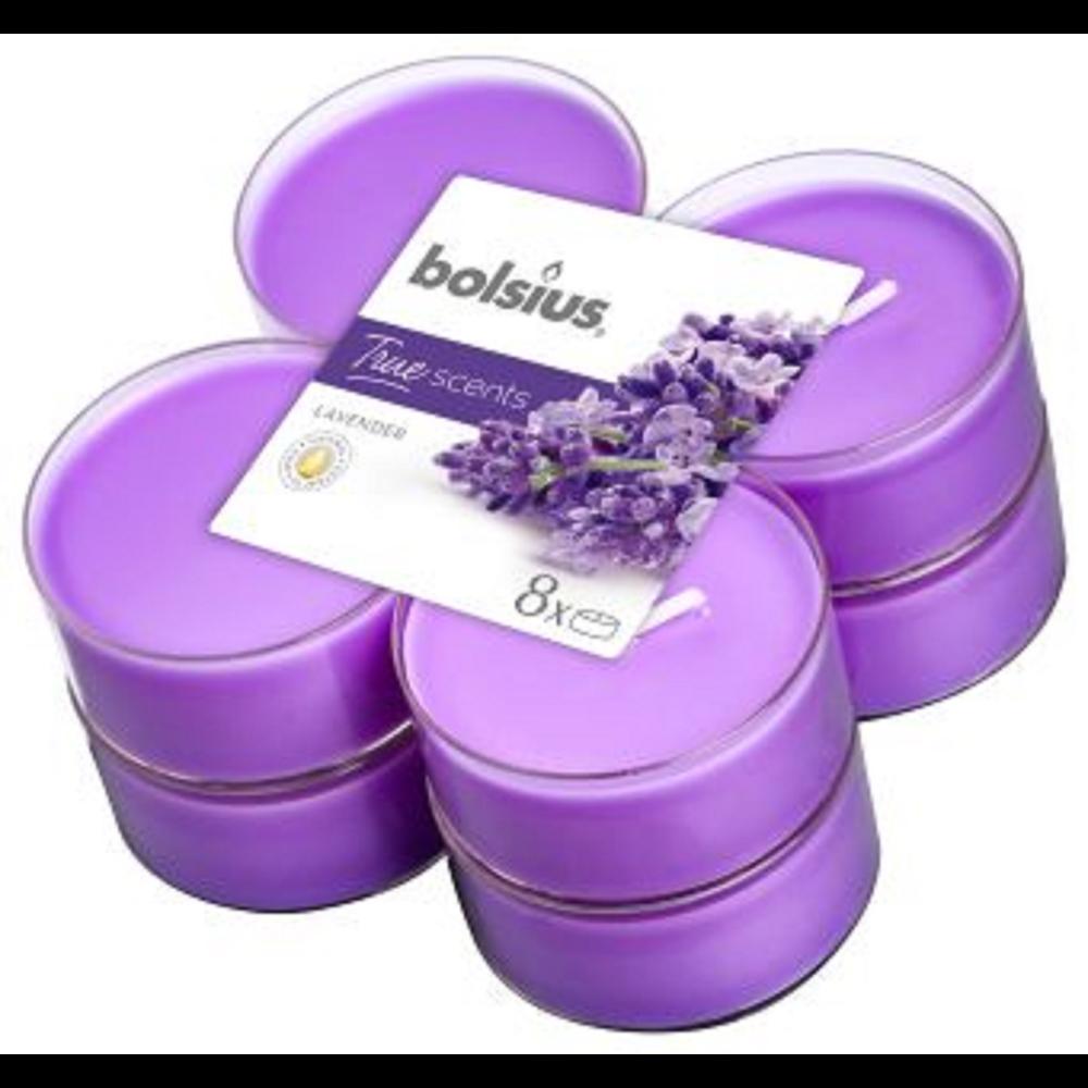 Set 8 lumanari parfumate tip pastila maxi Bolsius, mov, lavanda imagine 2021 mathaus