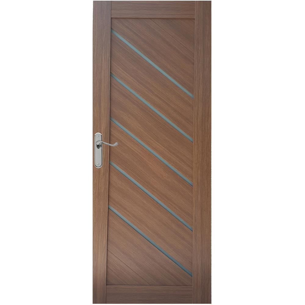 Usa de interior cu geam  Pamate U77, Stejar auriu, 203 x 80 x 3,5 cm + toc 10 cm, reversibila imagine MatHaus.ro