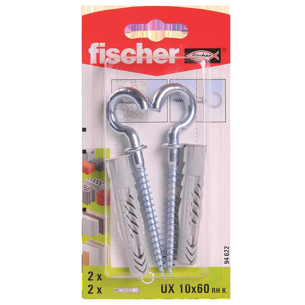 Diblu din nailon cu surub carlig, Fischer UX, 10 x 60 mm, 7 x 97 mm, 2 buc mathaus 2021