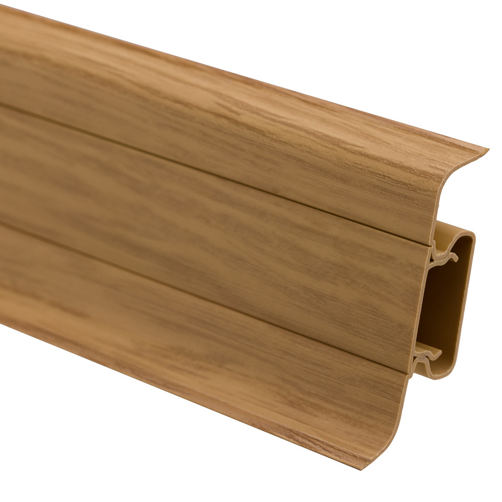 Plinta parchet, cu canal cablu, PVC, stejar ardenes, 2500x52x22.5 mm imagine MatHaus