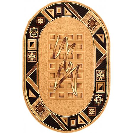 Covor clasic Gold 090/12 O, polipropilena BCF, bej-maro, 60 x 110 cm