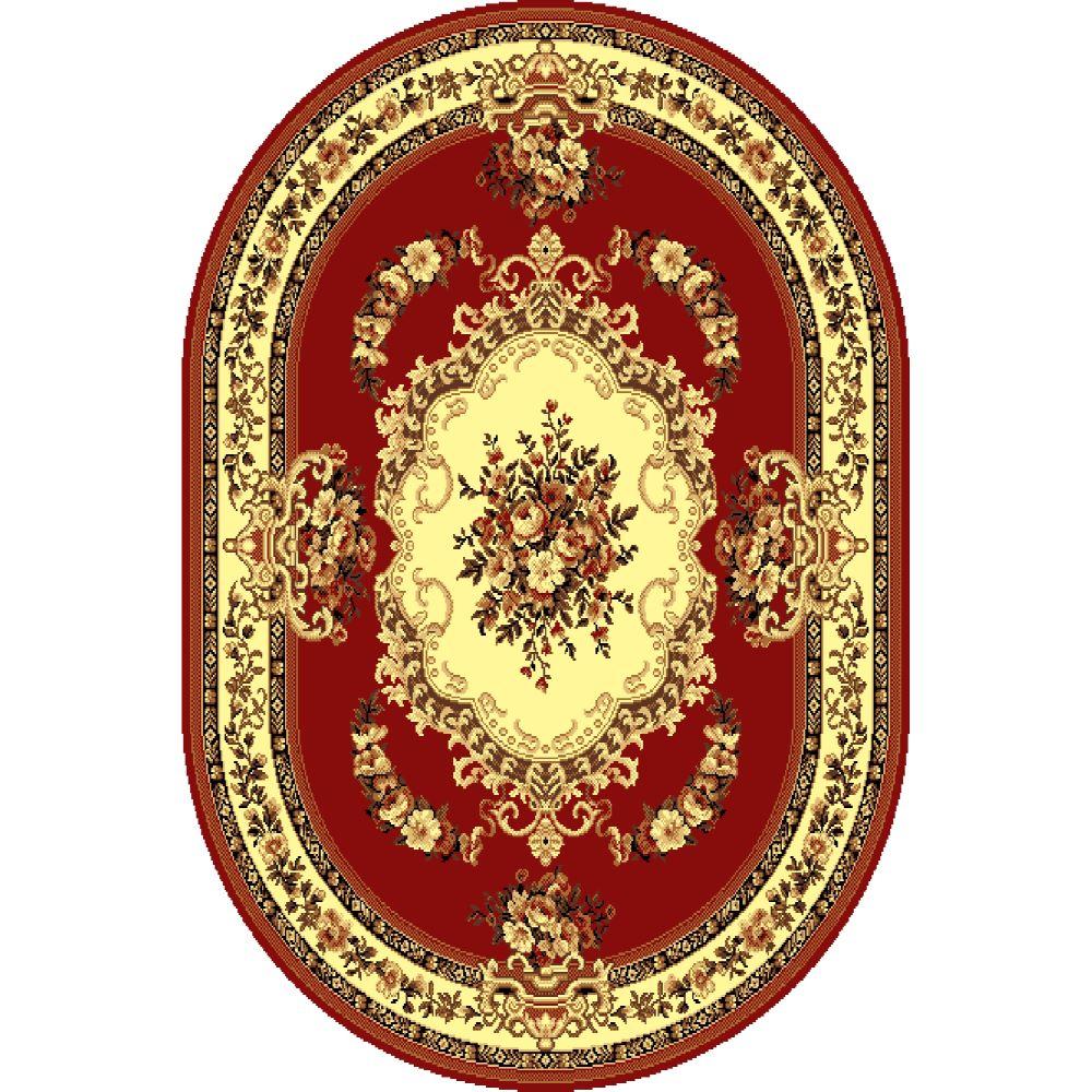 Covor clasic Gold 047/22 O, polipropilena BCF, rosu-bej, 60 x 110 cm imagine MatHaus
