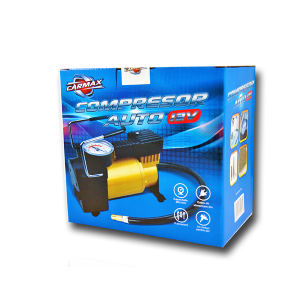 Compresor auto Carmax 150PSI, mecanic, 3 adaptoare, 12 V, 16,3 x 8,3 x 15 cm imagine 2021 mathaus