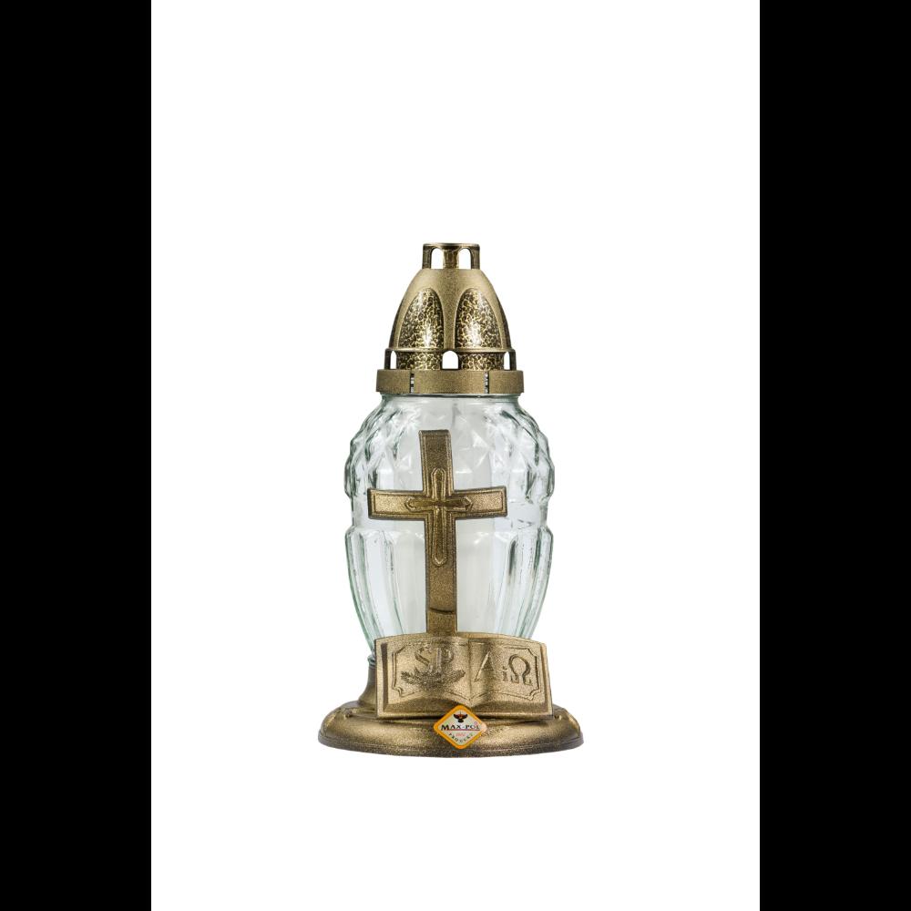 Candela din sticla 80-9KM, auriu, 15,5 x 25 cm imagine 2021 mathaus