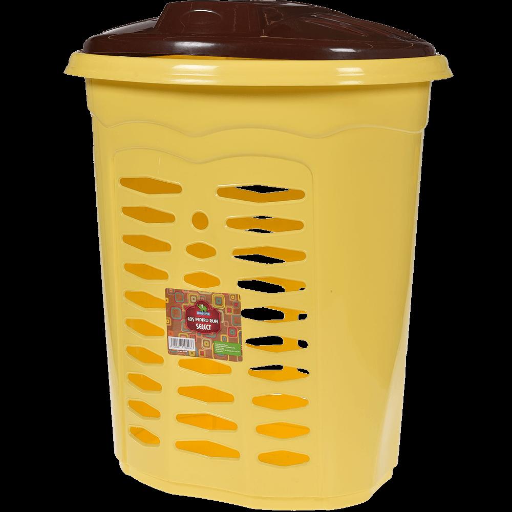Cos pentru rufe, plastic, galben-maro, 35 x 45 x 50 cm