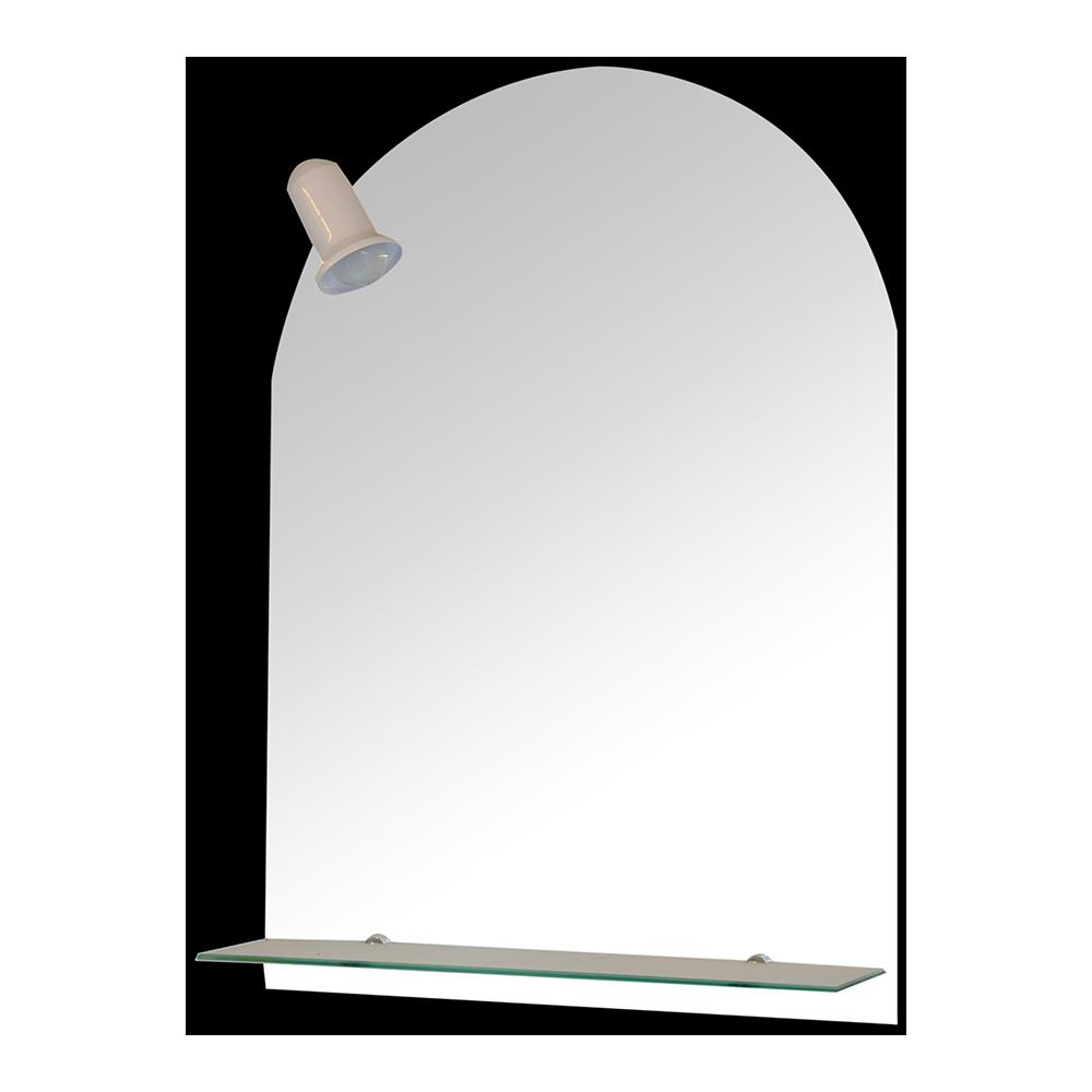 Oglinda de baie cu spot si etajera Gobe YH-8011, clasic, sticla, alb, 70 x 50 cm