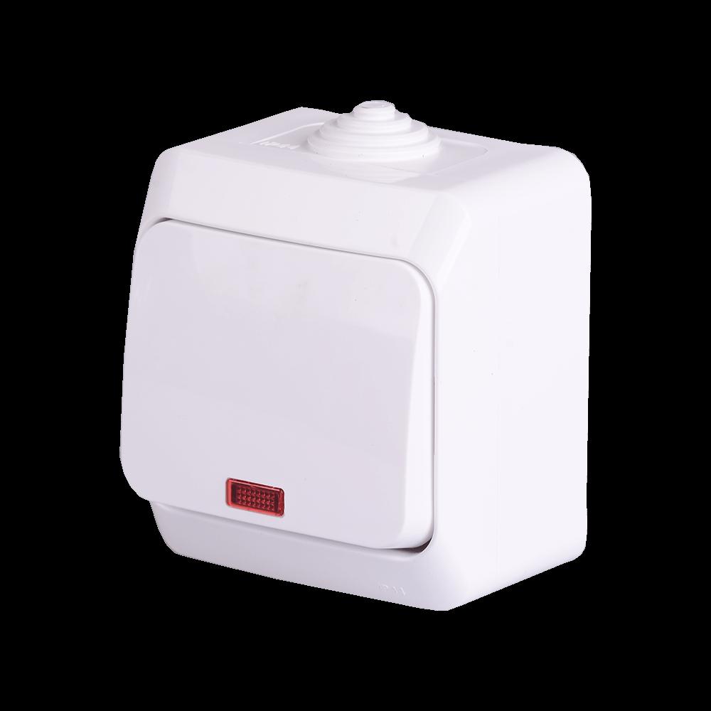 Comutator cap scara Schneider Cedar Plus, IP 44, indicator LED, alb, montaj aparent imagine 2021 mathaus