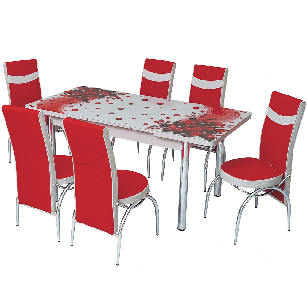 Set masa extensibila Amarillis, rosu/alb, 6 scaune imagine 2021 mathaus