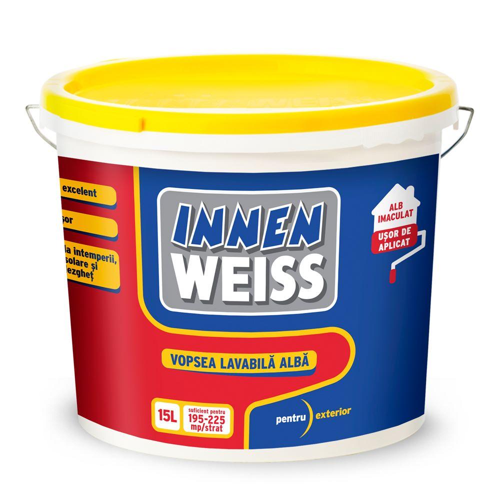 Vopsea lavabila exterior Innenweiss, 15 l , alba