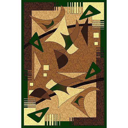 Covor clasic Gold 106/123, polipropilena BCF, bej-maro si verde, 60 x 110 cm
