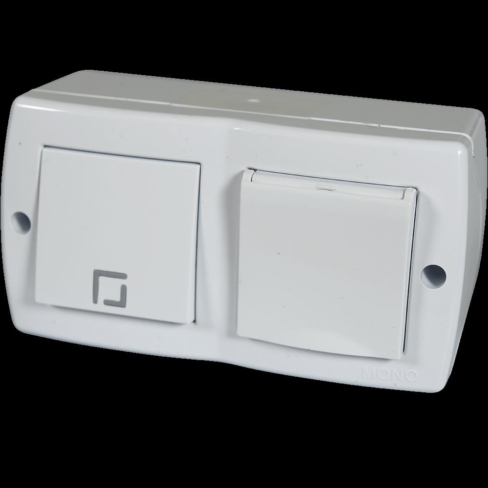 Ansamblu priza cu capac + intrerupator Lohuis Octans, cu contact de protectie, IP44, alb imagine 2021 mathaus