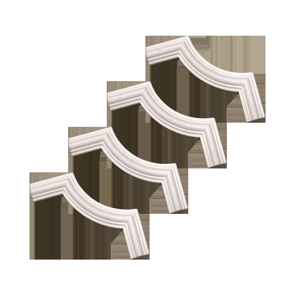 Bagheta decorativa sfert de cerc I40, polistiren, alb, 240 mm, 4 buc/set
