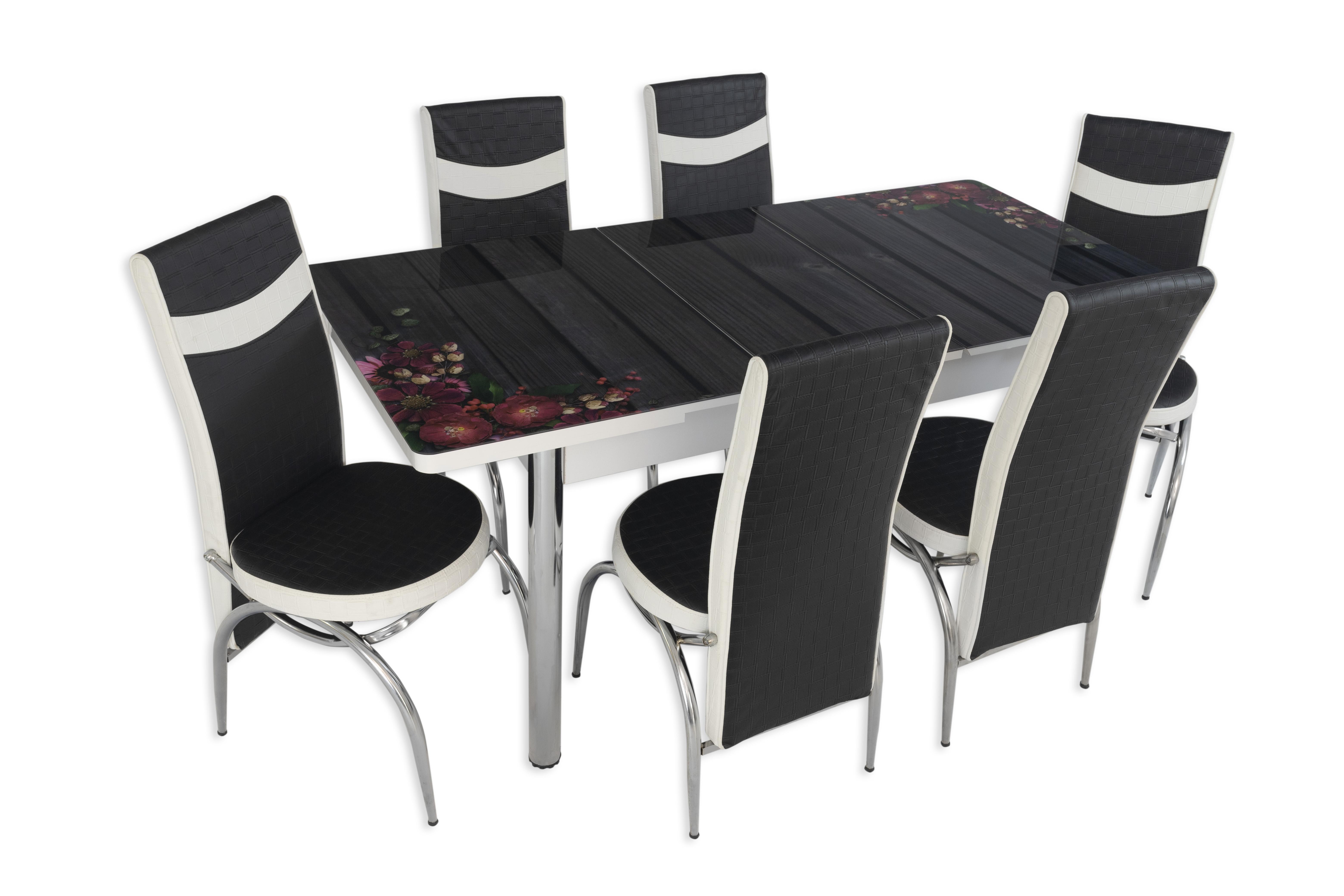 Set masa extensibila cu 6 scaune Arta Table Flori de camp, pal melaminat + piele ecologica, negru + alb, 169 x 80 cm imagine 2021 mathaus