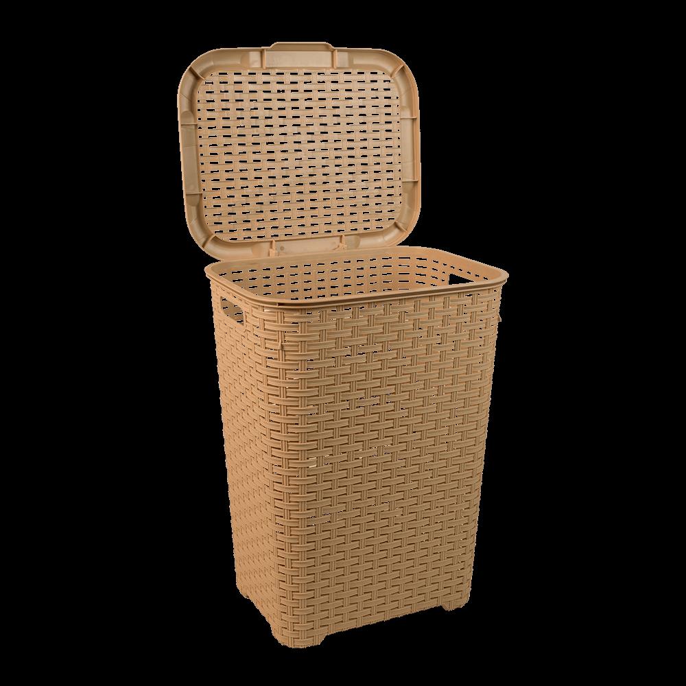 Cos mare rufe, impletit, plastic, bej, 44 x 35 x 59 cm