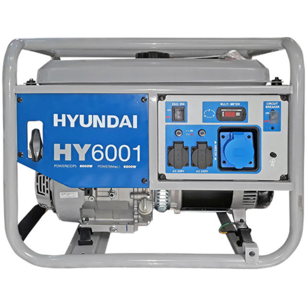 Generator curent electric monofazic Hyundai HY6001, 6 kW, 2 x 230V / 16A + 1 x 230V / 32 A , capacitate rezervor 25 l imagine 2021 mathaus