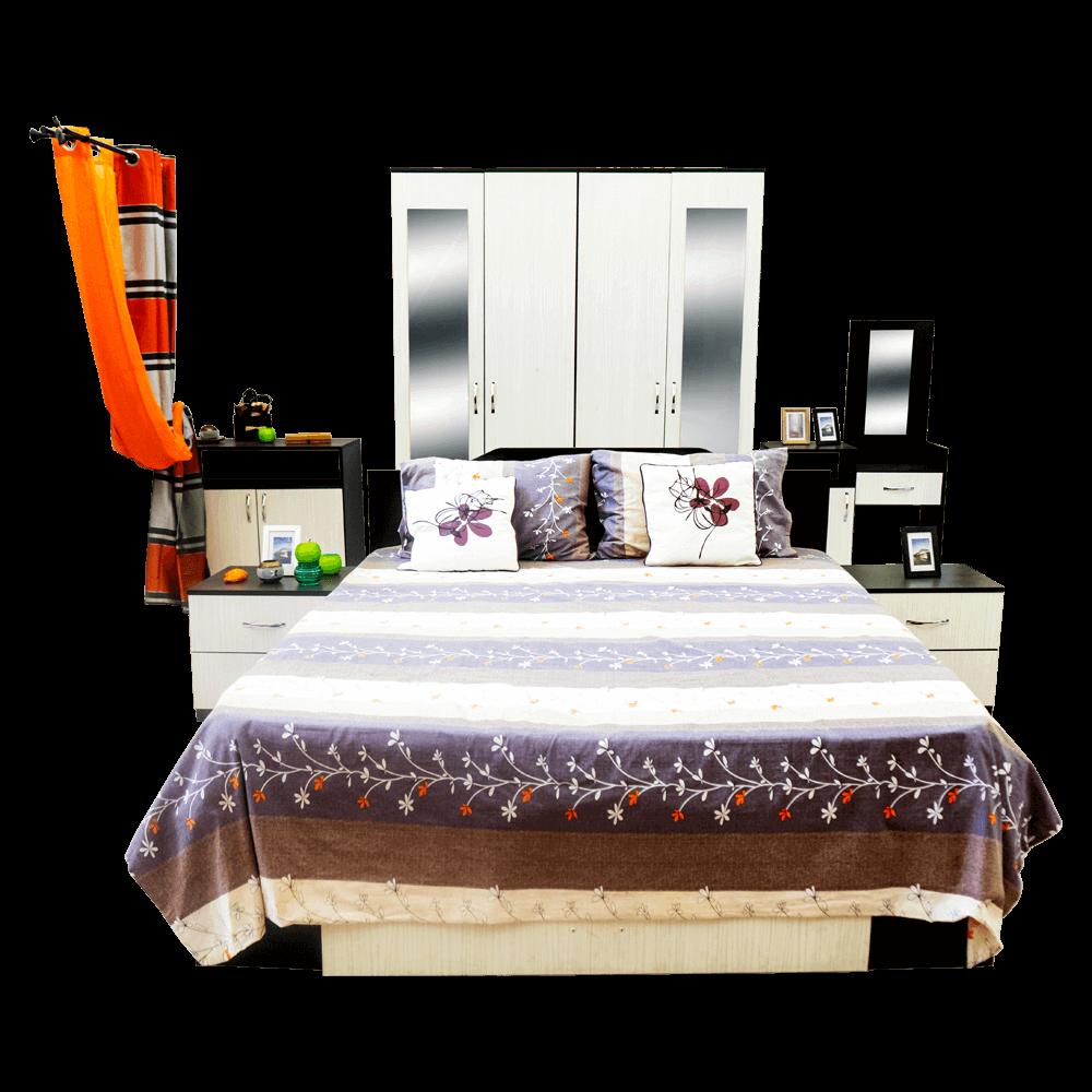 Dormitor modern Anca, PAL 16 mm, pat 2 persoane, dulap dressing, 2 noptiere, comoda tip dulap, masa de toaleta cu oglinda, wenge/ alb imagine 2021 mathaus