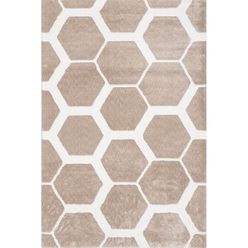Covor modern Sintelon Creative O 05EWE 1K, poliester, model hexagonal, alb, bej, 70 x 140 cm mathaus 2021