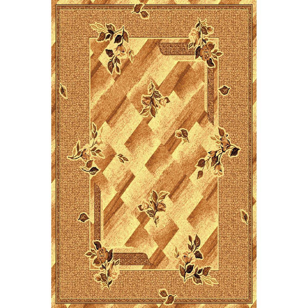 Covor clasic Gold 302/12, polipropilena BCF, bej-maro, 60 x 110 cm