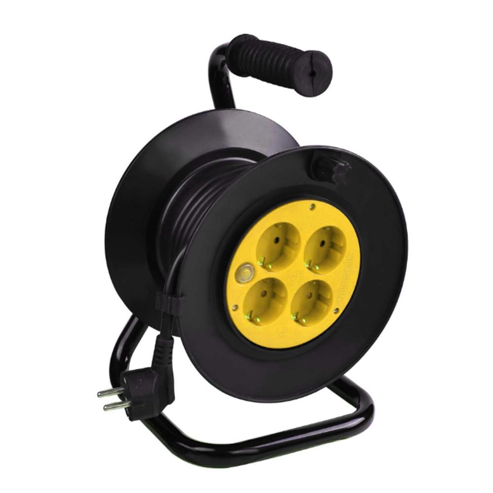 Derulator cablu electric cu 4 prize, Schuko, 3 x 2,5 mmp, 25 m mathaus 2021