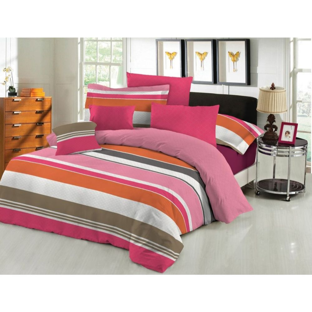 Lenjerie pat XXL, 2 persoane , bumbac 100%, 4 piese, model linii colorate, roz