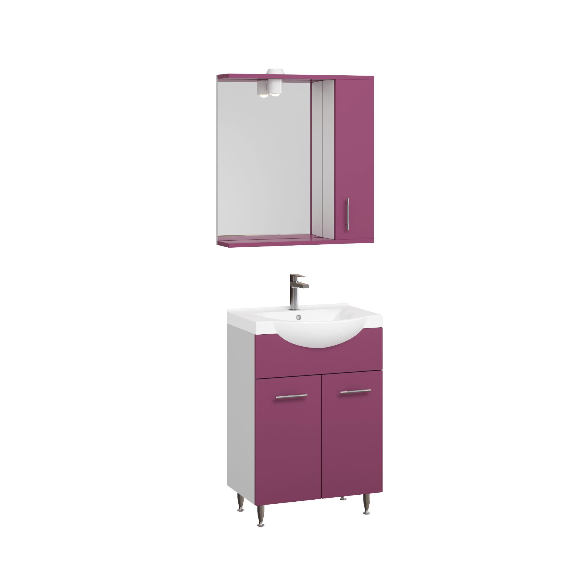 Set mobila baie Badenmob Seria 153, PAL + MDF, baza, lavoar, oglinda, violet, 55 cm imagine 2021 mathaus