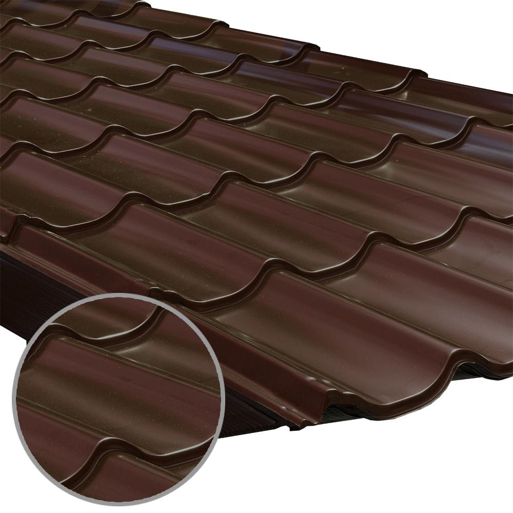 Tigla metalica Durako Riva, maro, RAL 8017, lucios, grosime 0,45 mm, 0,395 x 1,180 m mathaus 2021