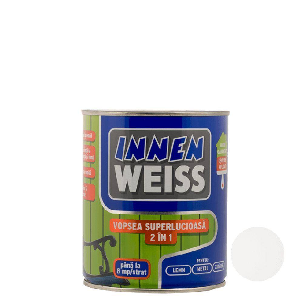 Vopsea superlucioasa Innenweiss 2 in 1, interior/exterior, alba, 0,6 l