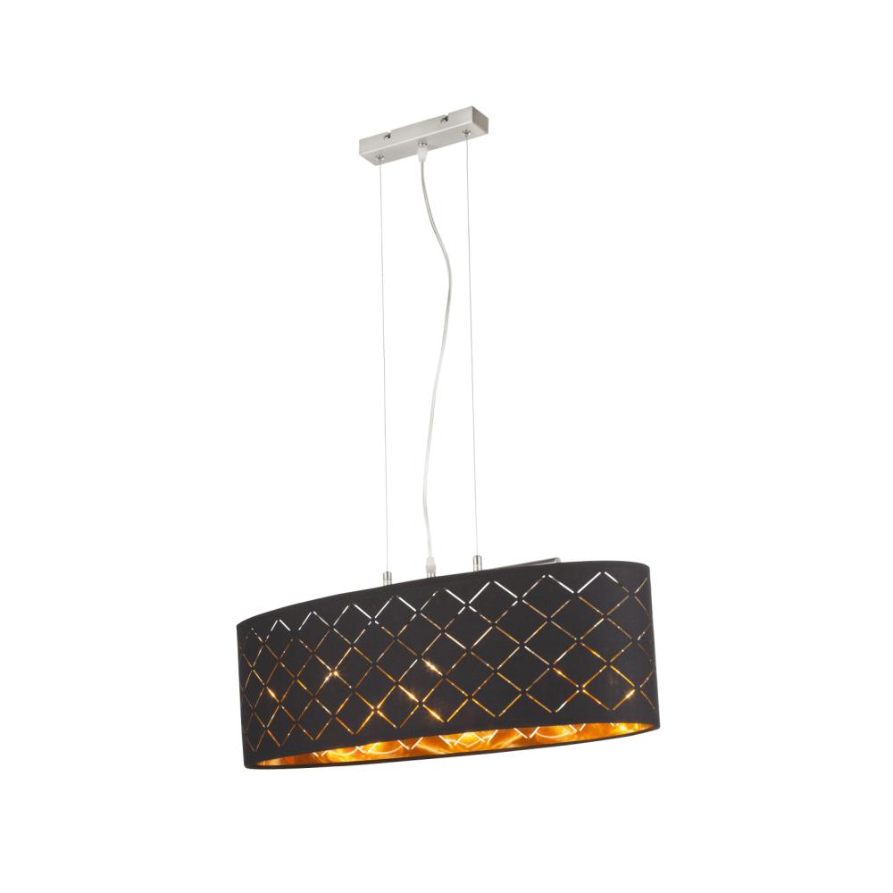Pendul Clarke, 3 x E27, 60W, 650 mm, nichel satinat + negru + auriu mathaus 2021