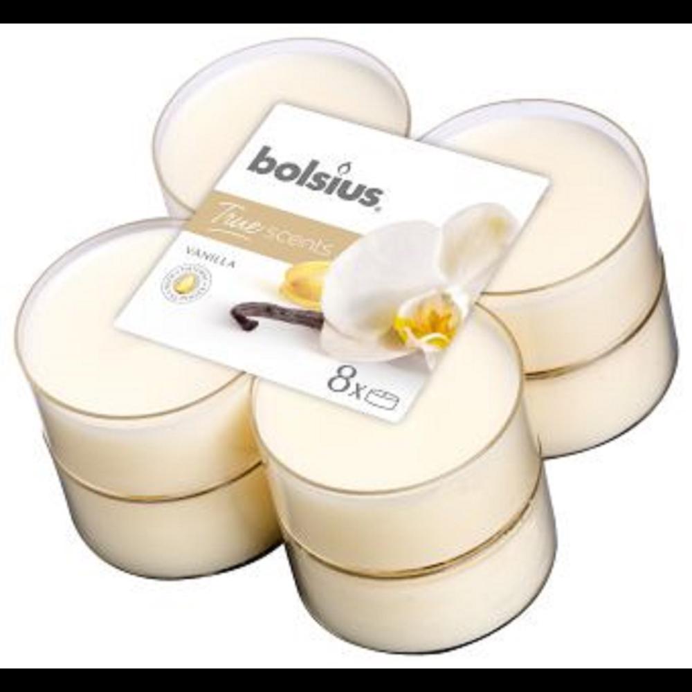 Set 8 lumanari parfumate tip pastila maxi Bolsius, crem, vanilie imagine 2021 mathaus