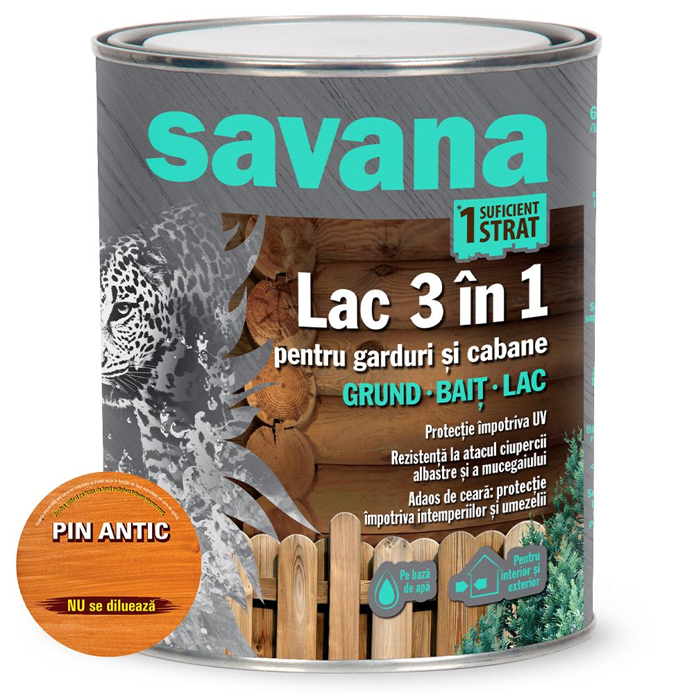 Lac 3 in 1 Savana garduri si cabane, pin antic, pe baza de apa, interior / exterior, 0,75 l imagine MatHaus