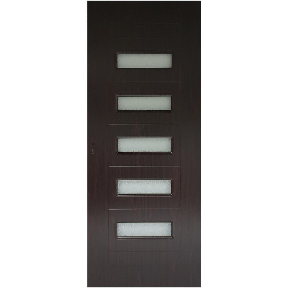 Usa interior cu geam Pamate M104, wenge, 203 x 70 x 3,5 cm + toc reglabil, reversibila