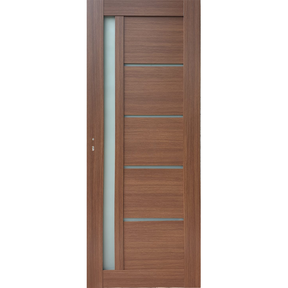 Usa interior cu geam Pamate U72, stejar auriu, 203 x 70 x 3,5 cm + toc 10 cm, reversibila imagine MatHaus.ro