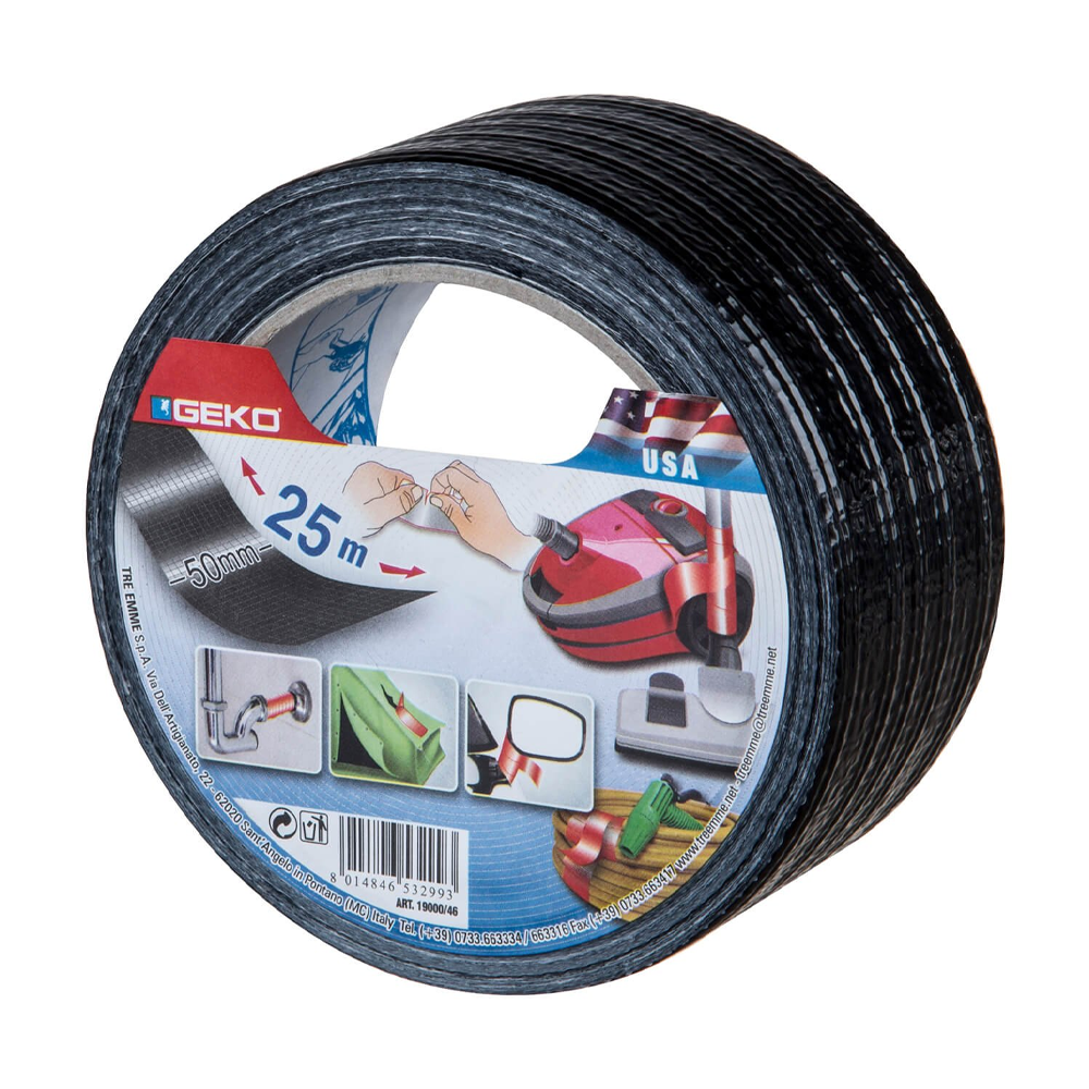 Banda adeziva textila, rezistenta la apa, negru, 50 mm x 25 m