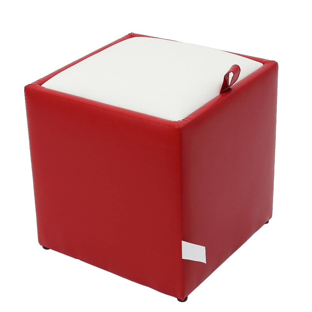 Taburet Box alb/ rosu Ip, 37 x 37 x 42 cm imagine MatHaus.ro