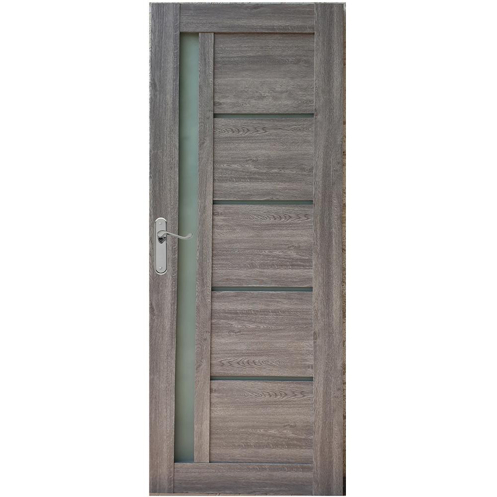 Usa interior cu geam Pamate U72, gri, 203 x 70 x 3,5 cm + toc 10 cm, reversibila mathaus 2021