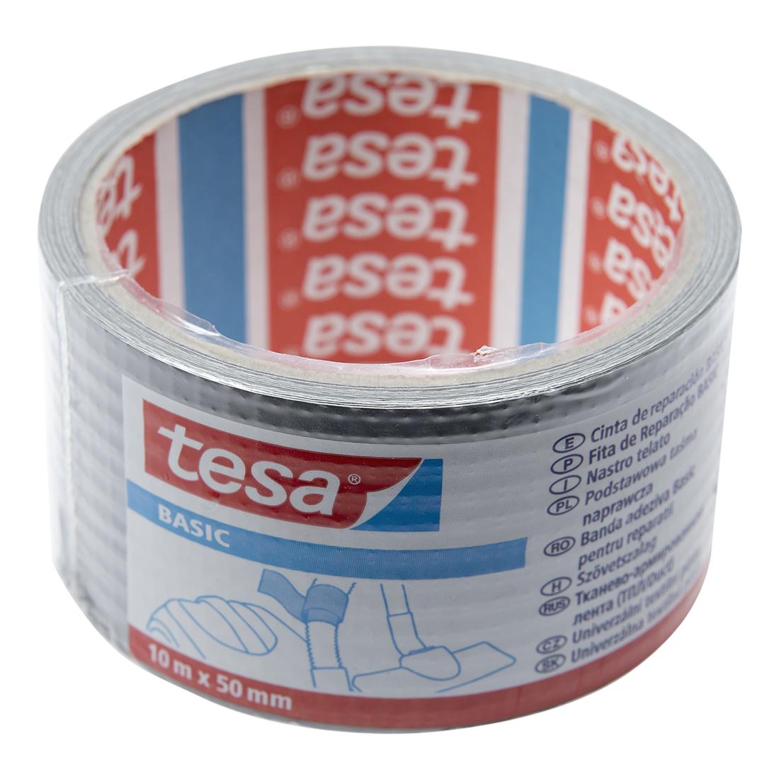 Banda adeziva pentru reparatii Tesa BASIC Duct Tape – 58586,  gri metalizat, 50 mm