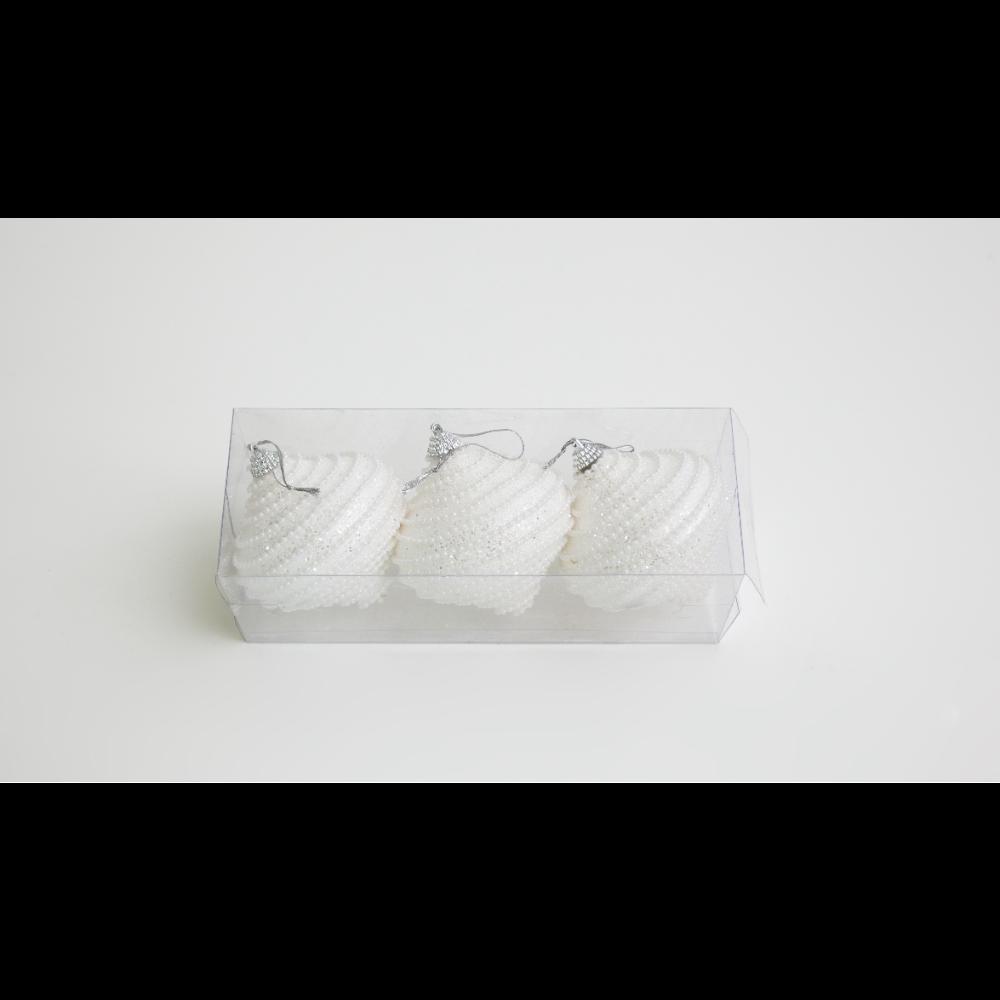 Set 3 globuri decorative de Craciun titirez, polistiren, 8 cm