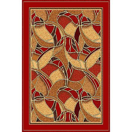Covor clasic Gold 132/22, polipropilena BCF, bej-maro si visiniu, 50 x 80 cm